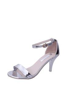 Metallic Ankle Strap Heeled Sandals