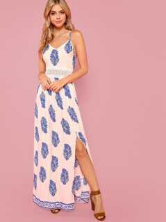 Lace Waist Split Front Cami Dress