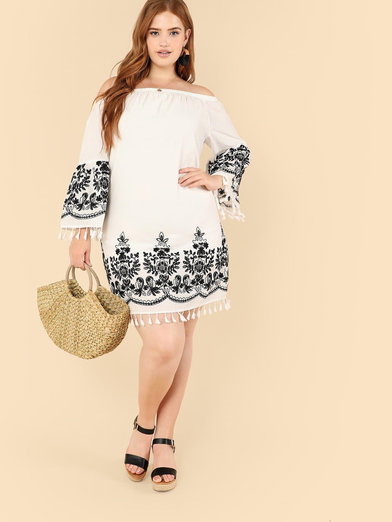 Купить Платье бандо с кисточками и кружевами, Bree Kish, SheIn