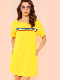 Rainbow Striped Front Cuffed Dress