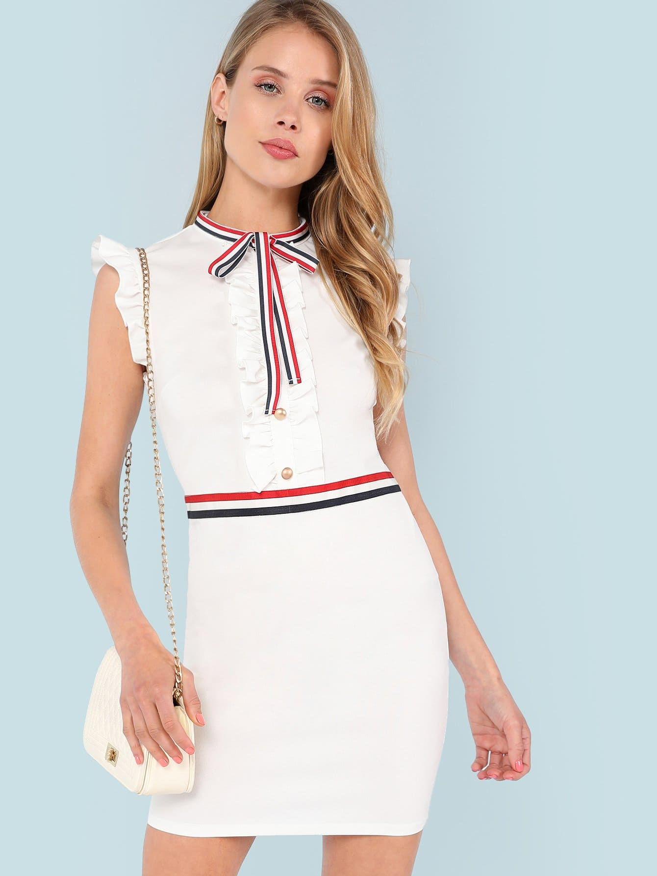 Stripe Tied Neck Frill And Button Embellished Dress button embellished v back dress