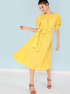 Self Belted Solid Flare Dress