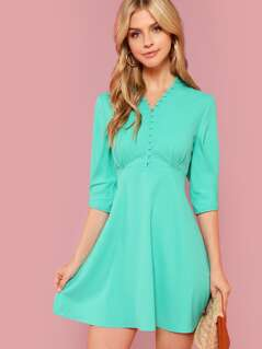 Button Half Placket Fit and Flare Dress