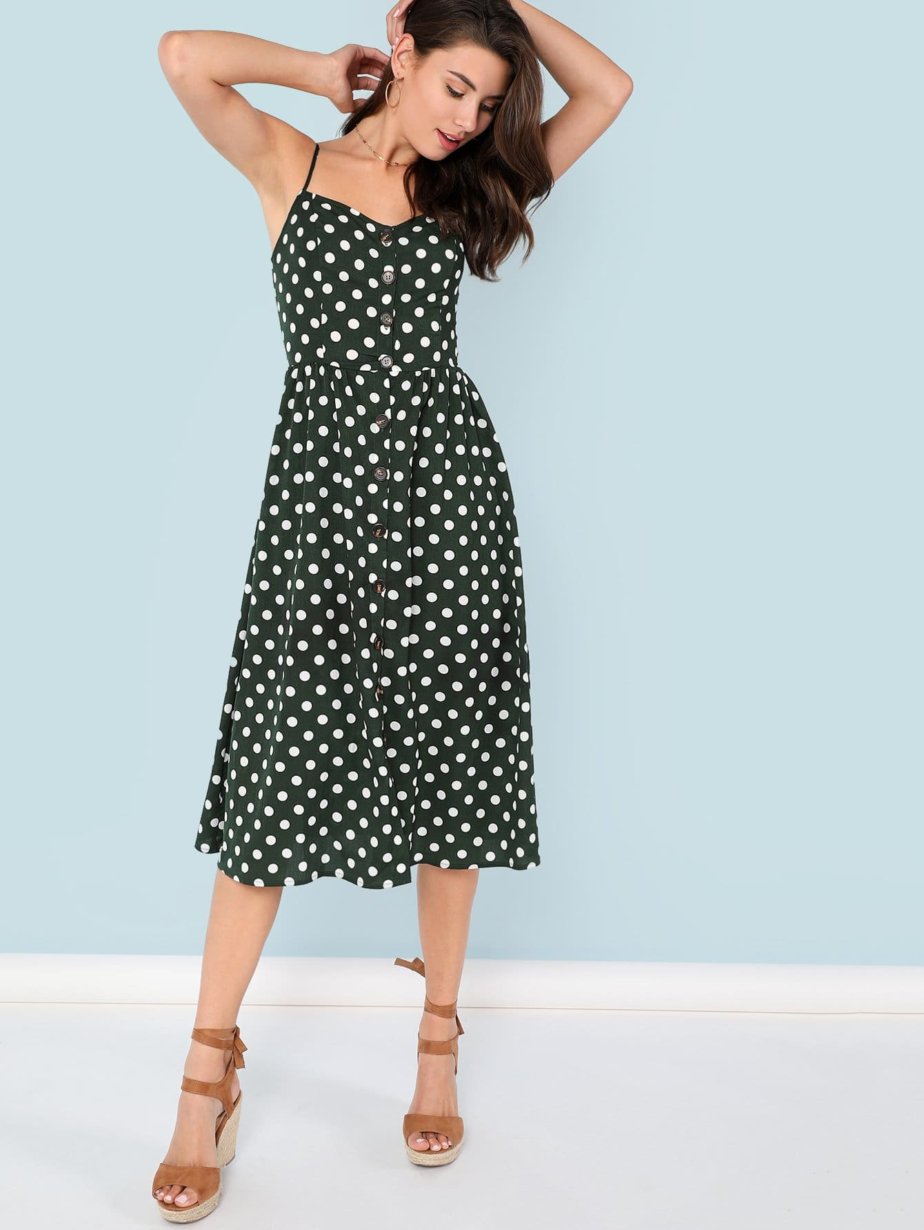 Купить Платье с пуговицами в горошек, Zandria Theis, SheIn