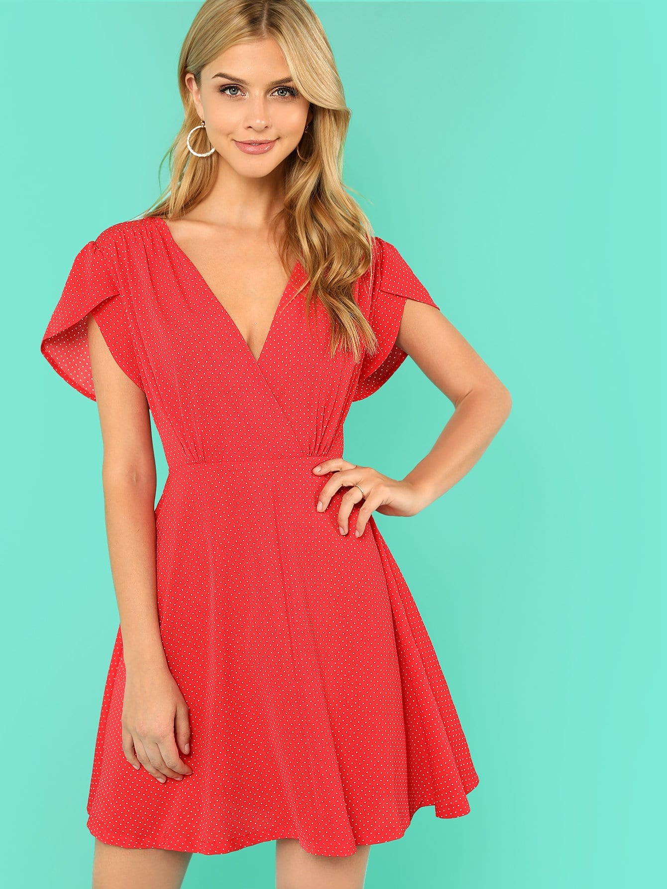 Plunging Neck Fit & Flare Dress plunging neck fit