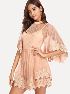 Asymmetrical Bell Sleeve Guipure Lace Trim Romper