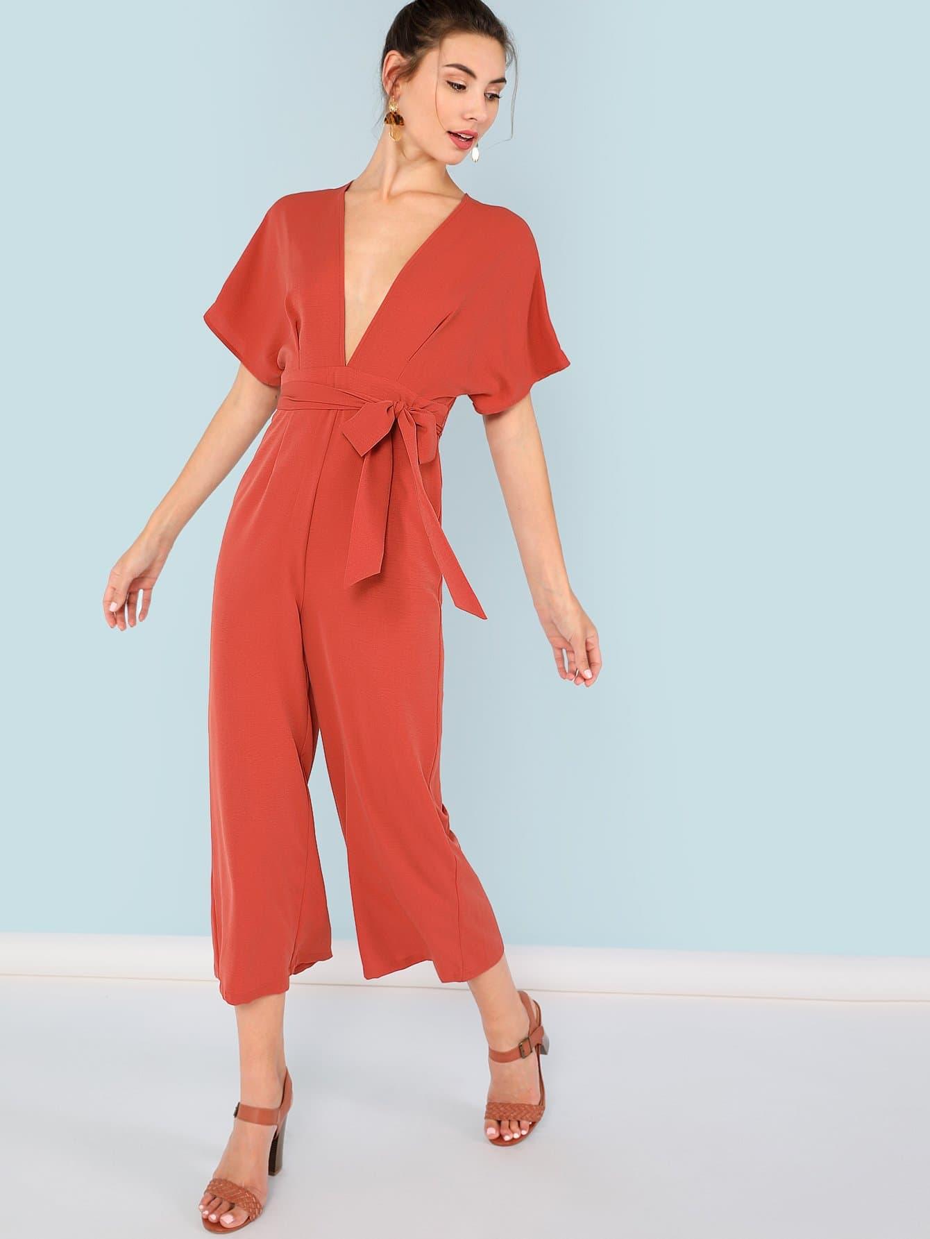 Plunging Neck Self Belted Zip Back Jumpsuit mixed print plunging neck self belted dress