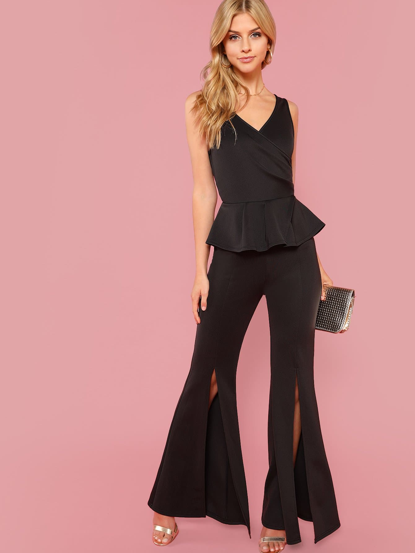 Surplice Neck Ruffle Trim Slit Flare Leg Jumpsuit choker neck embroidered ruffle trim jumpsuit