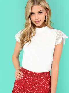 Lace Trim Zip Back Solid Tee