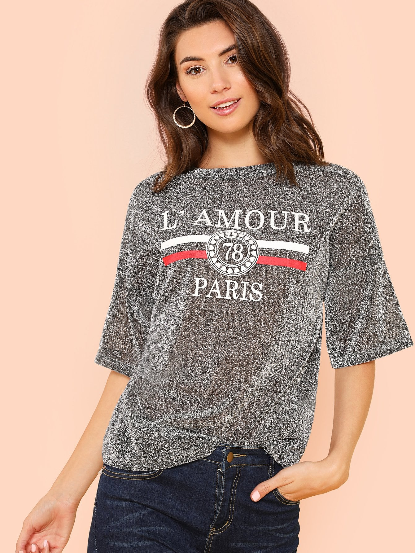Dropped Shoulder Mixed Print Glitter Tee cutout neck dropped shoulder tee