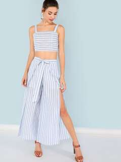 Striped Print Crop Top & Wide Leg Pants Set