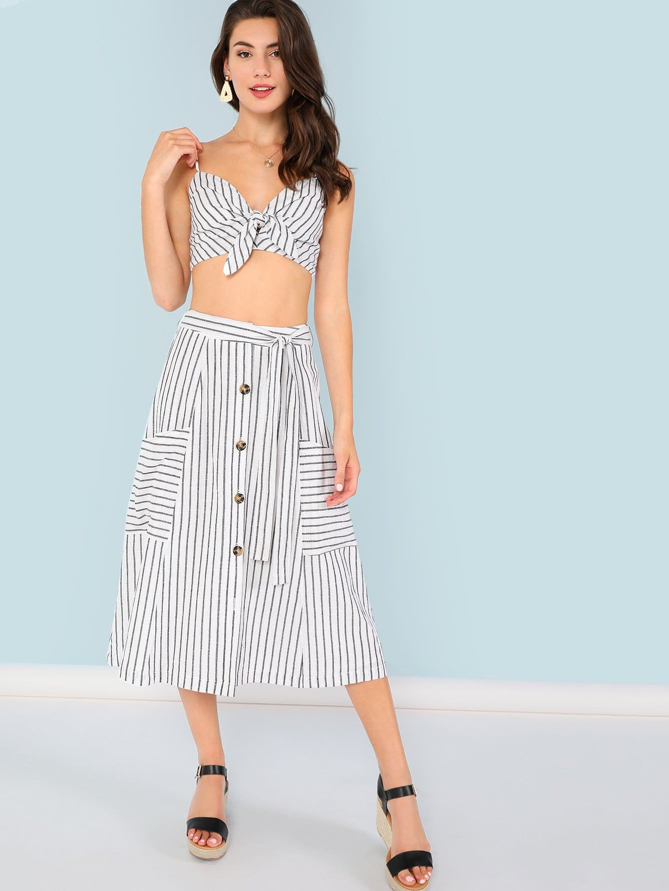 Striped Print Crop Cami Top & Button Up Skirt Set 2018 new casual dress sleeveless ruffles top striped skirt suit knitted sweater button two piece women s set party dresses