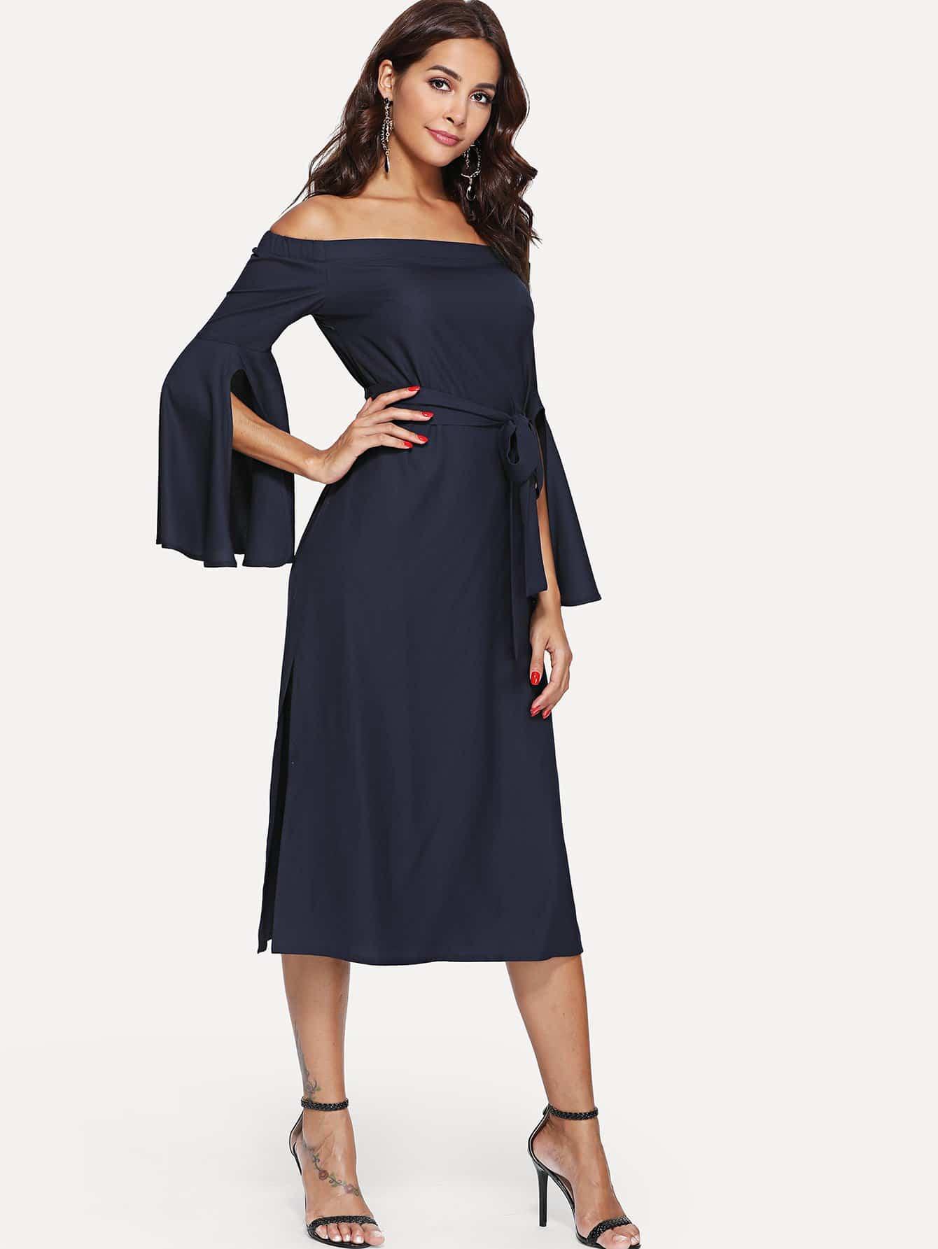 Купить Платье с открытыми плечами и оборками, Giulia, SheIn