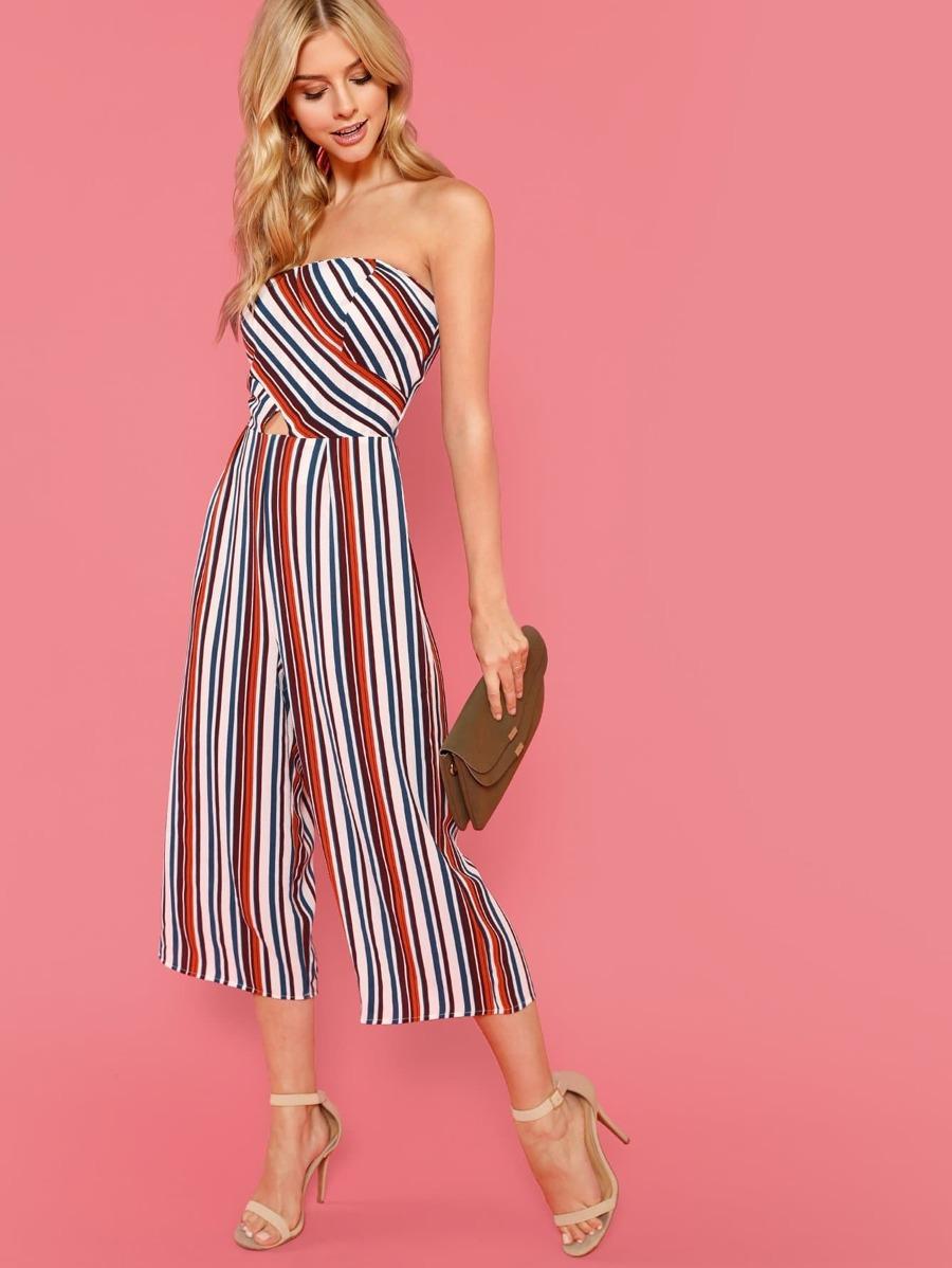 Stripe Strapless Jumpsuit by Sheinside