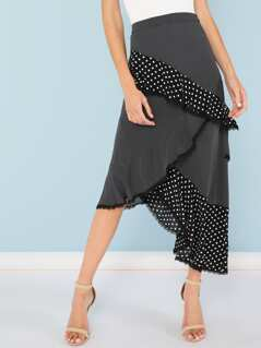 Polka Dot Contrast Asymmetrical Skirt