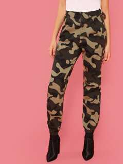 Camo Print O-Ring Buckle Pants