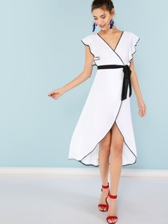 Surplice Wrap Dress with Color Contrast