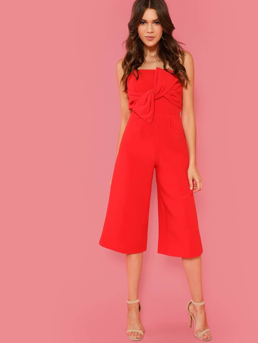 Strapless Jumpsuit With Bow by Sheinside