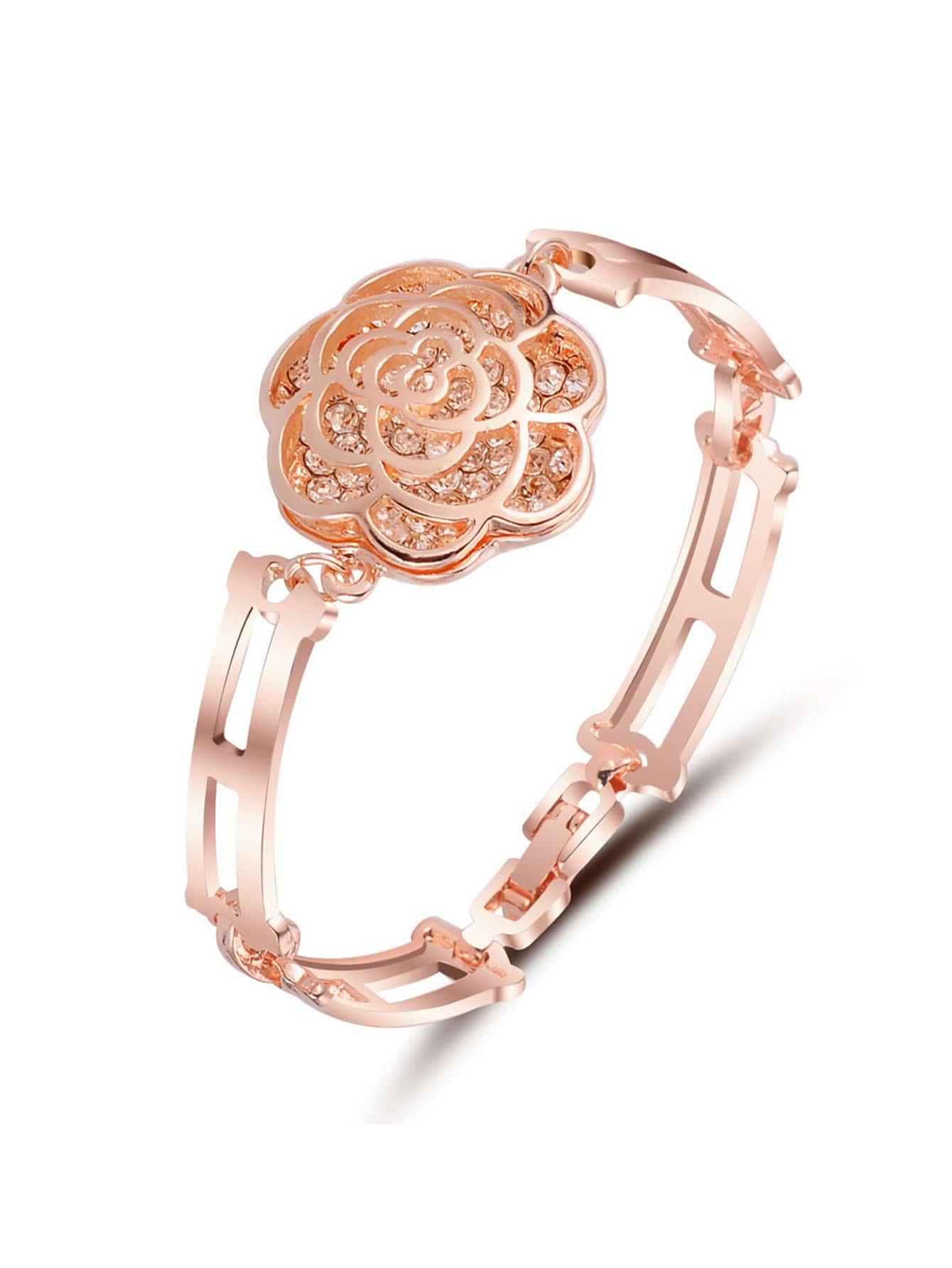Rhinestone Rose Design Bracelet