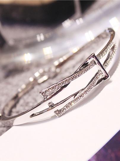 Rhinestone Decorated Bangle Bracelet