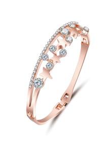 Star & Rhinestone Detail Bangle Bracelet