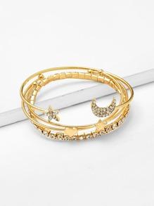 Moon & Star & Heart Design Bracelet Set