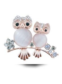 Rhinestone Double Owl Design Brooch