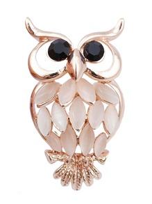 Rhinestone Owl Design Brooch