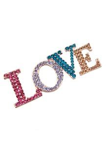 Rhinestone Letter Love Design Brooch