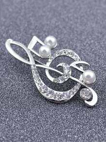 Note Design Brooch With Jewelry