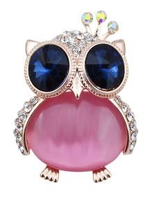 Contrast Rhinestone Owl Design Brooch