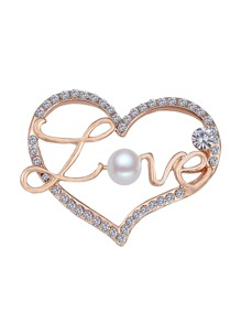 Heart Design Design Brooch With Faux Pearl