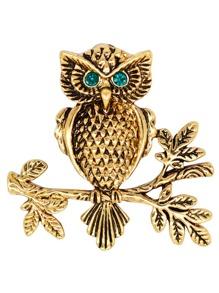 Owl Design Brooch With Rhinestone