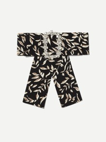 Leaf Print Bow Tie Pin