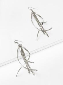 Chain Design Long Drop Earrings
