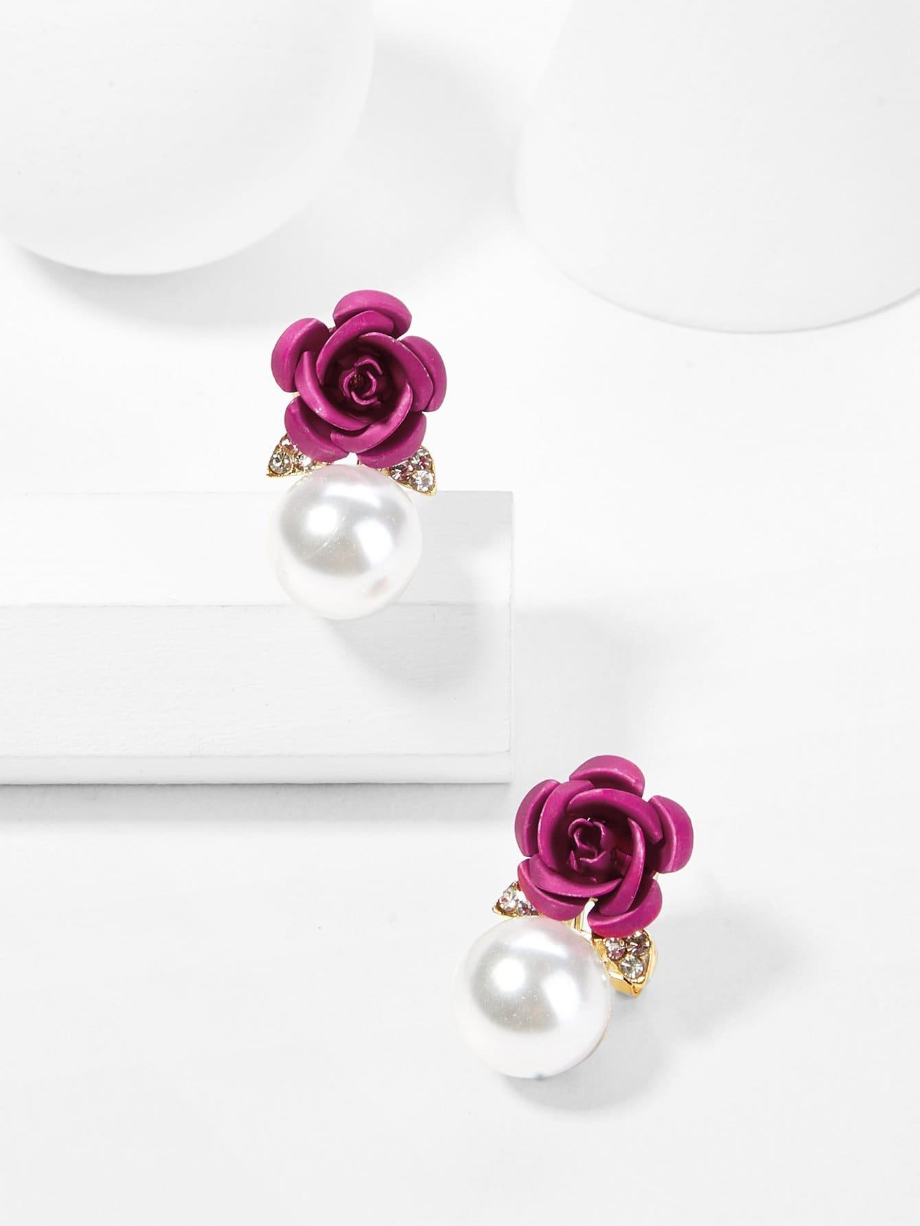 Серьги с вышивкой Rose & Faux Pearl Design