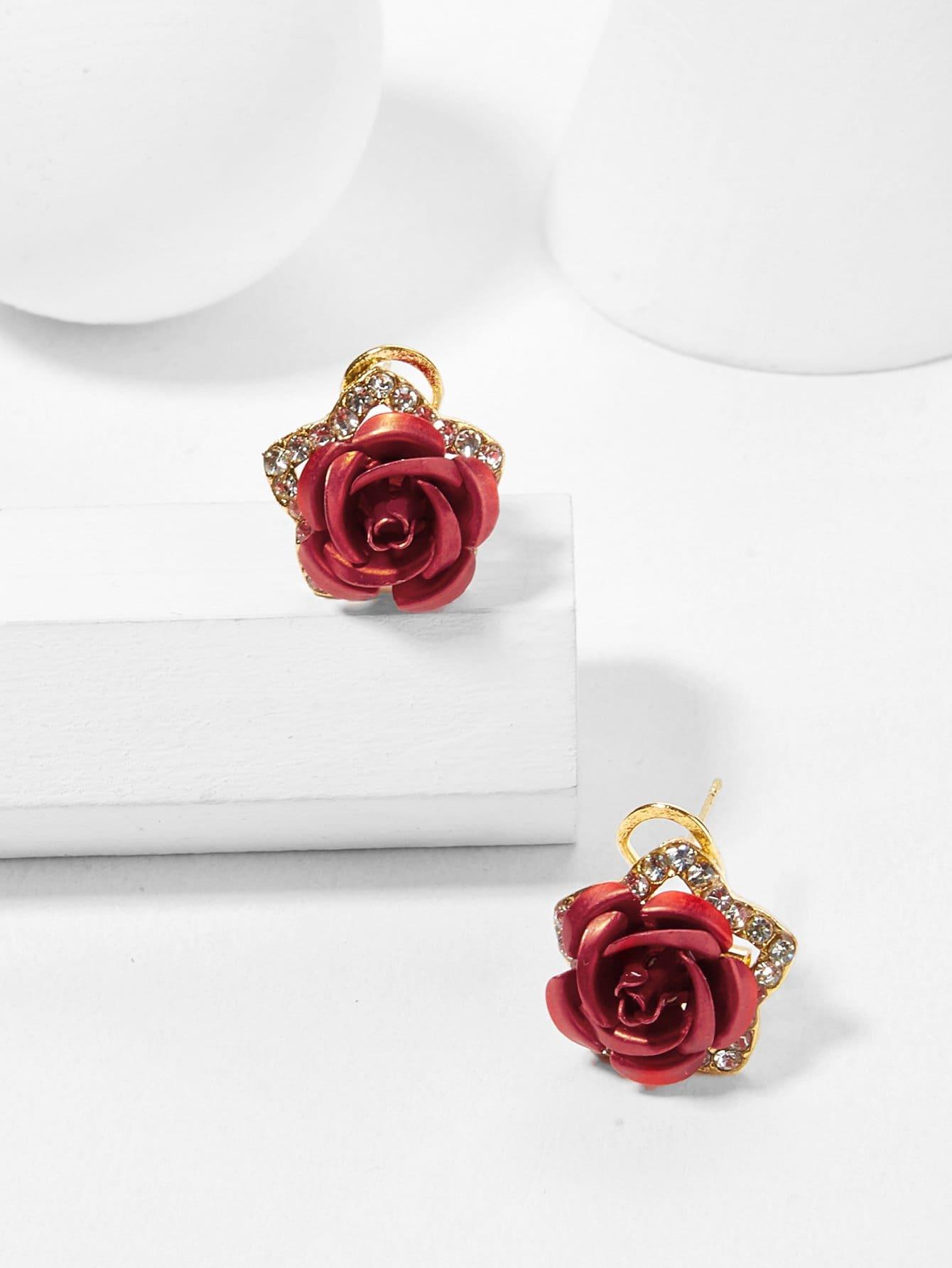 Купить Серьги с розовым дизайном, null, SheIn