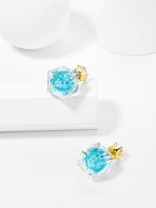 Two Tone Crystal Stud Earrings