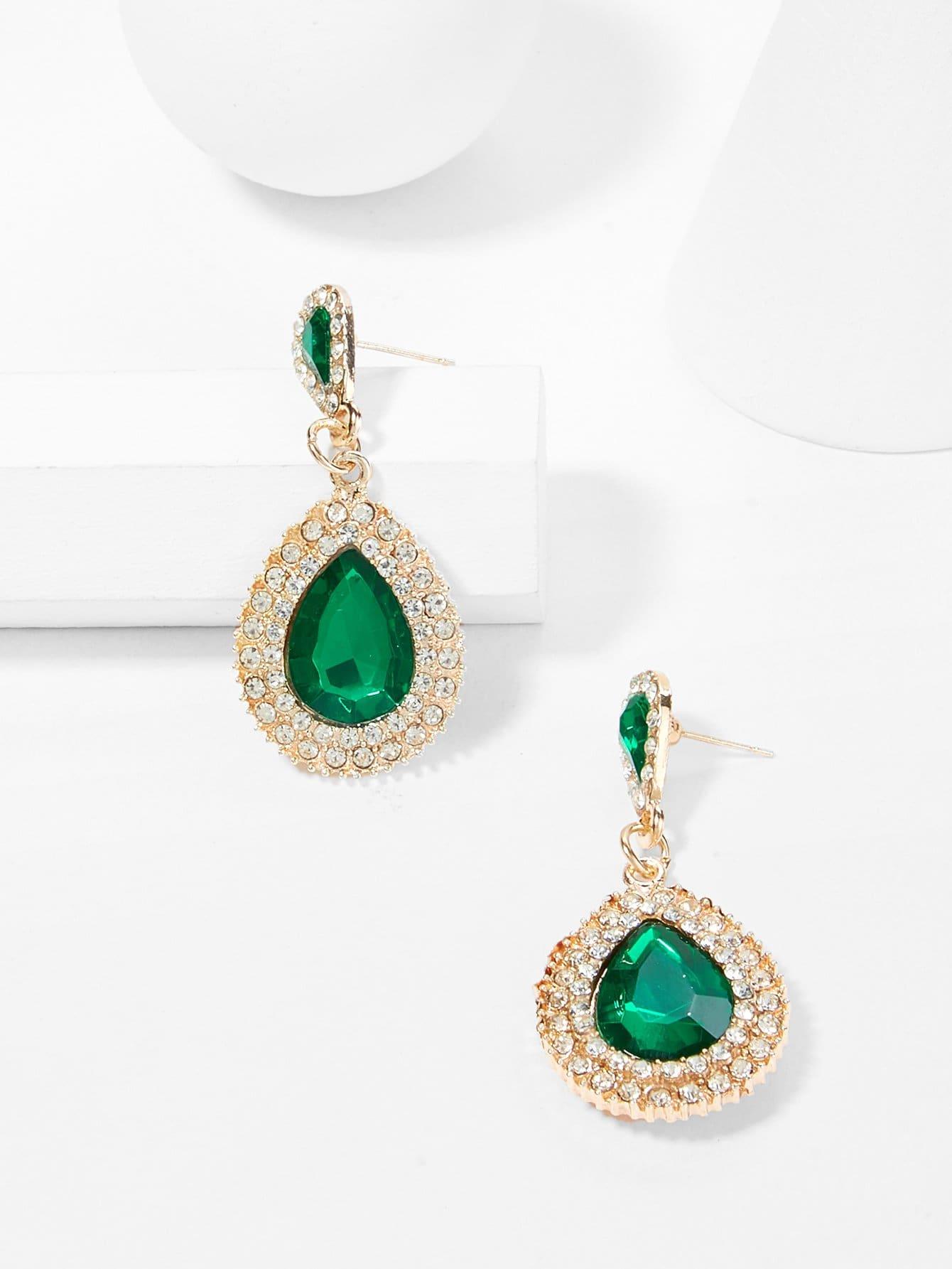 Rhinestone Water Drop Shaped Earrings scissors shaped drop hook earrings