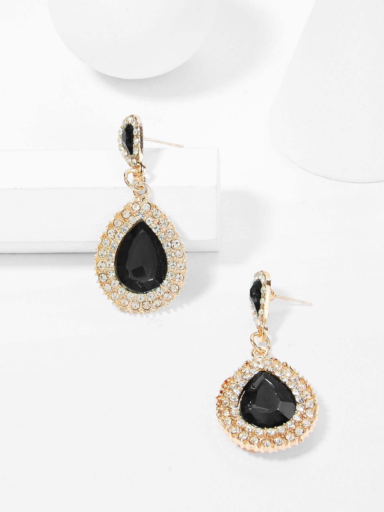 Купить Rhinestone Water Drop Shaped Earrings, null, SheIn