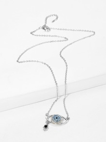 Rhinestone Eye Pendant Chain Necklace