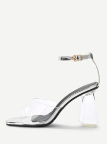 Clear Design Ankle Strap Heeled Sandals