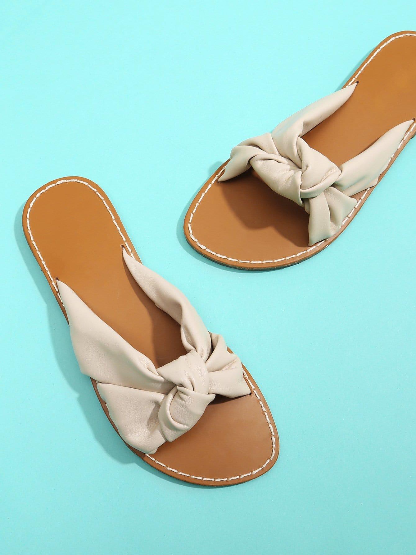 Knot Design PU Flat Sandals цена 2017