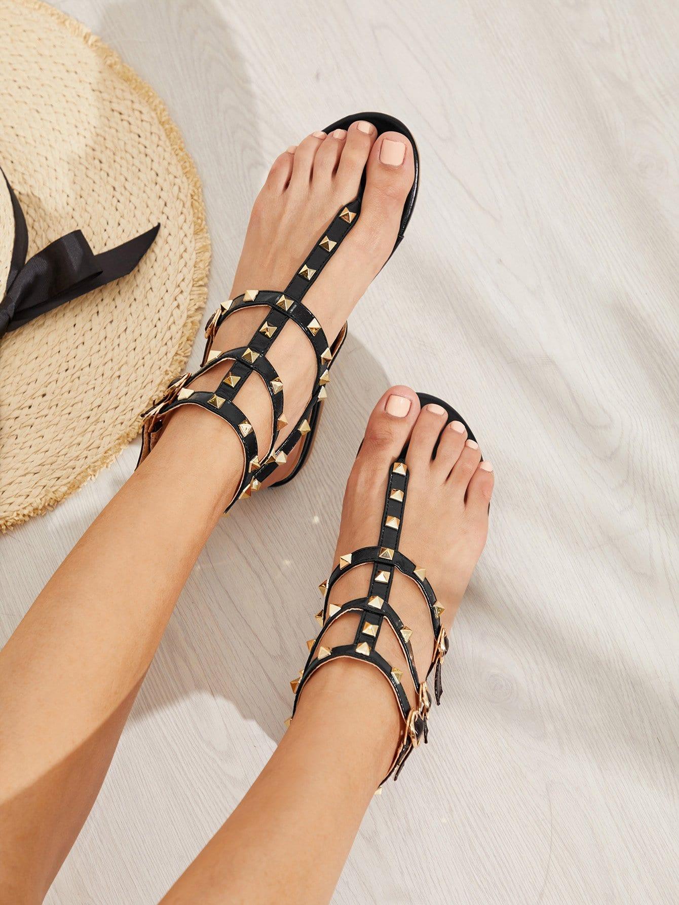 Rockstud Toe Post Strappy PU Sandals rockstud toe post strappy pu sandals