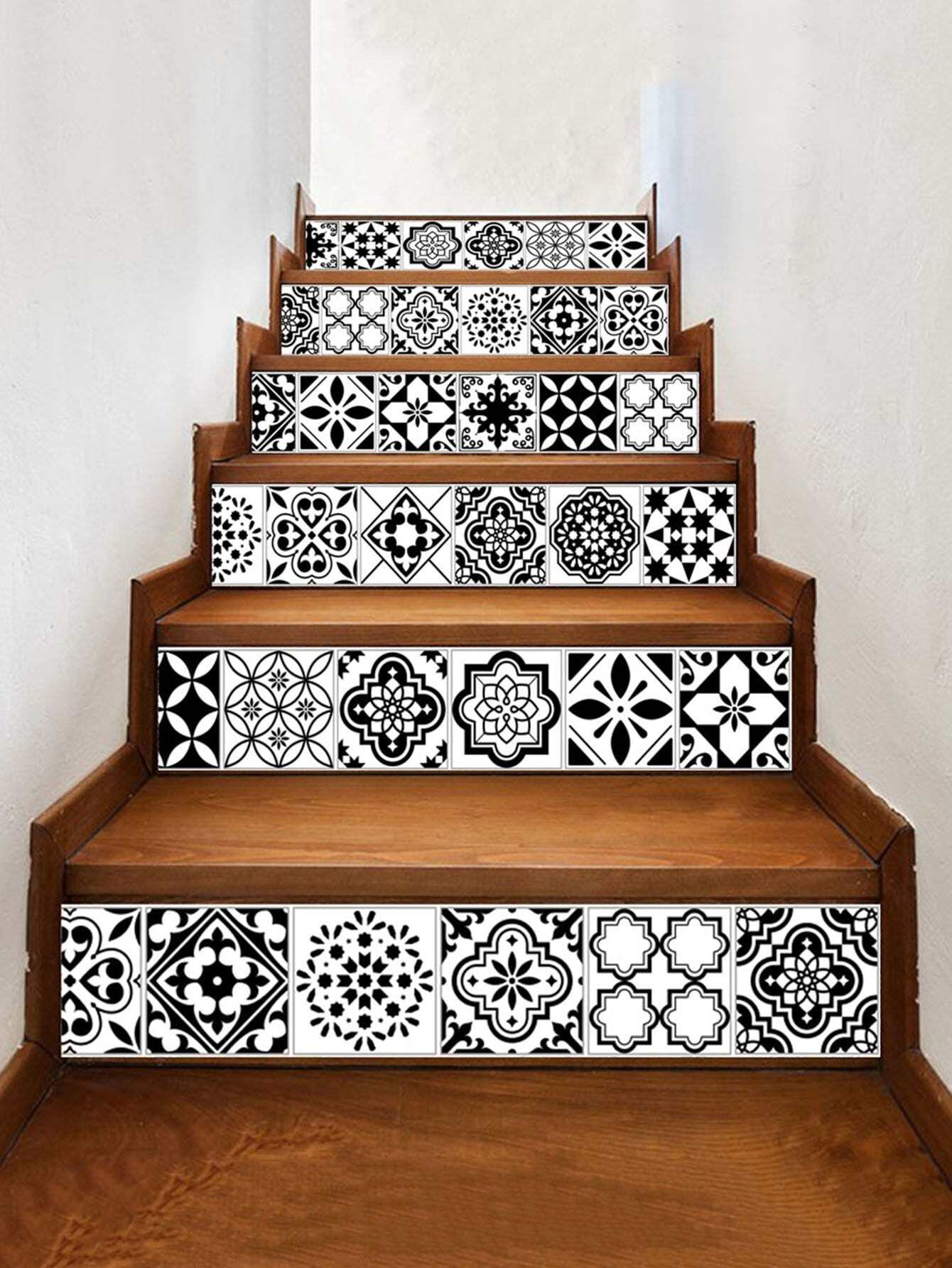 Symmetrical Pattern Stairs Tile sticker 6pcs sea wave stairs sticker 6pcs