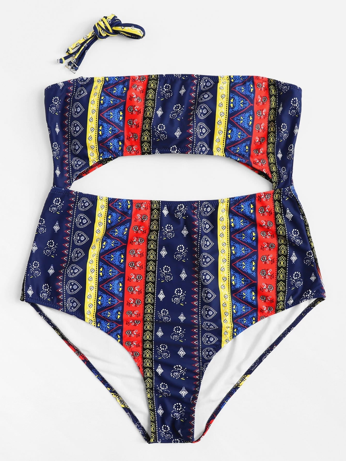 Mixed Print Cut-Out Swimsuit mixed pattern swimsuit