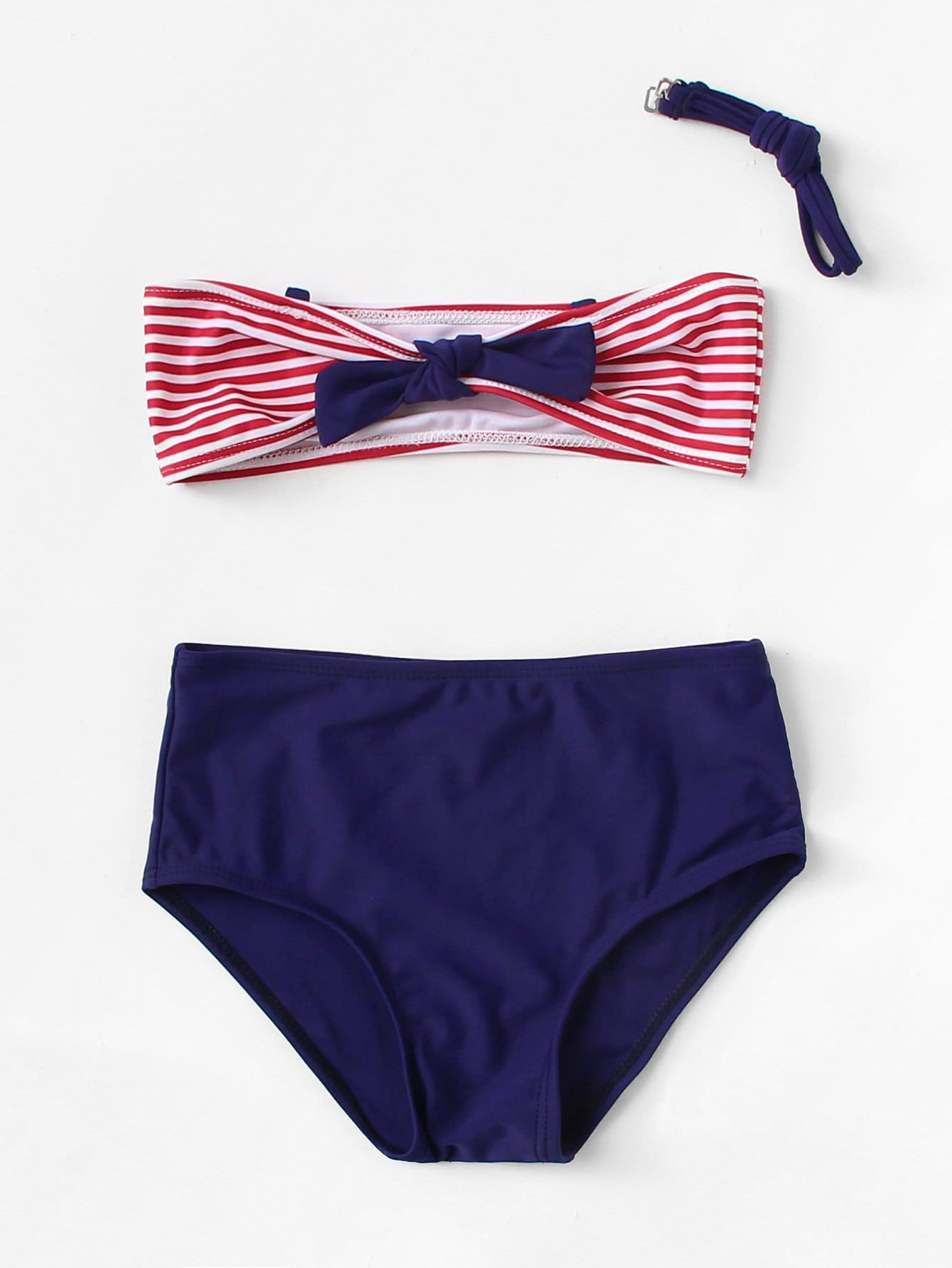 Girls Striped Bow Tie Bikini Set bow tie bardot bikini set