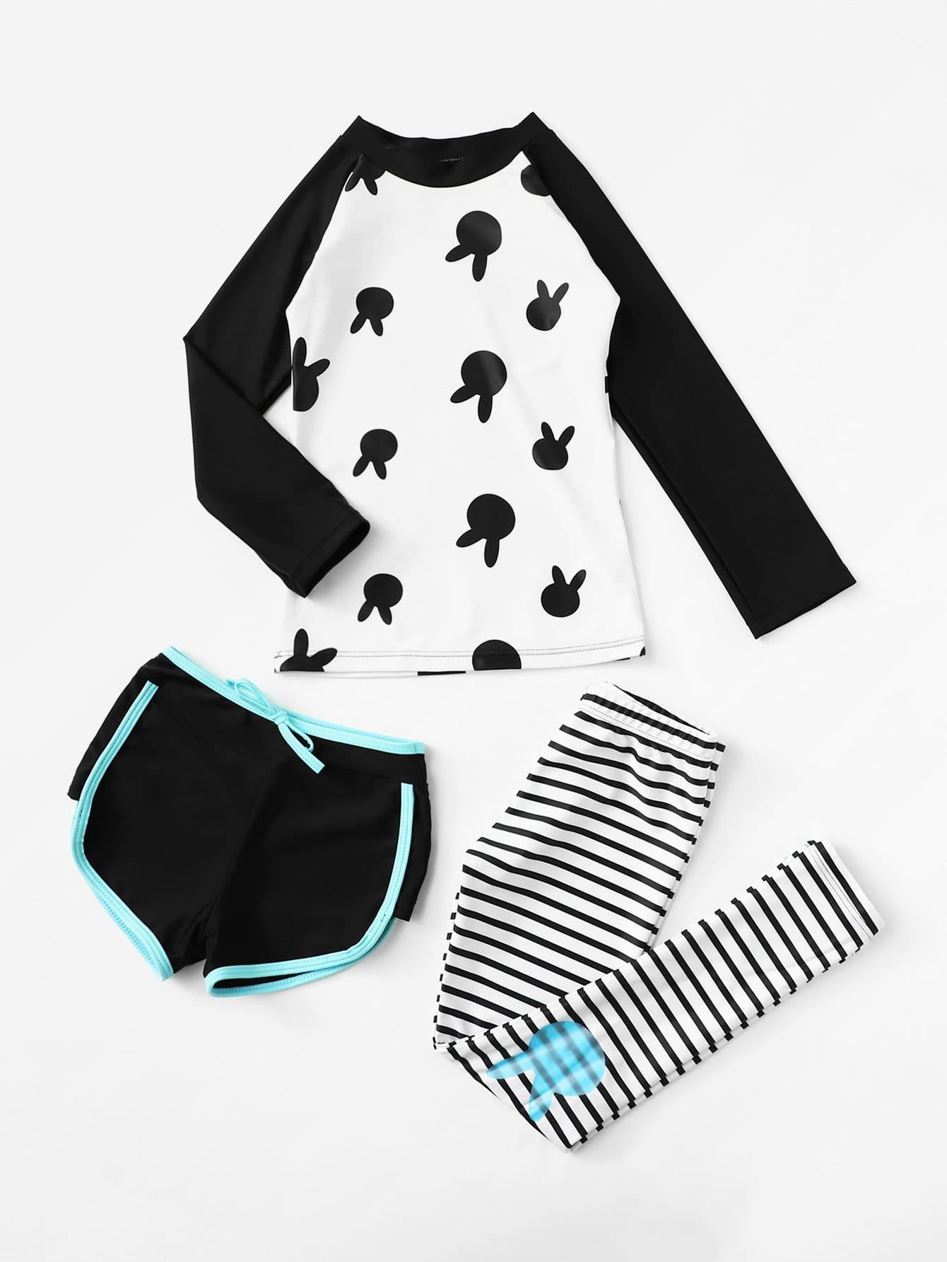 Girls Cartoon Two Piece Swimwear & Shorts 3pcs