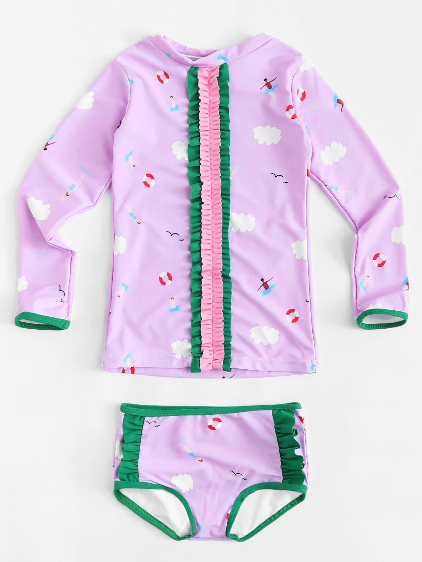 Girls Frill Trim Two Piece Swimwear two tone houndstooth two piece swimwear
