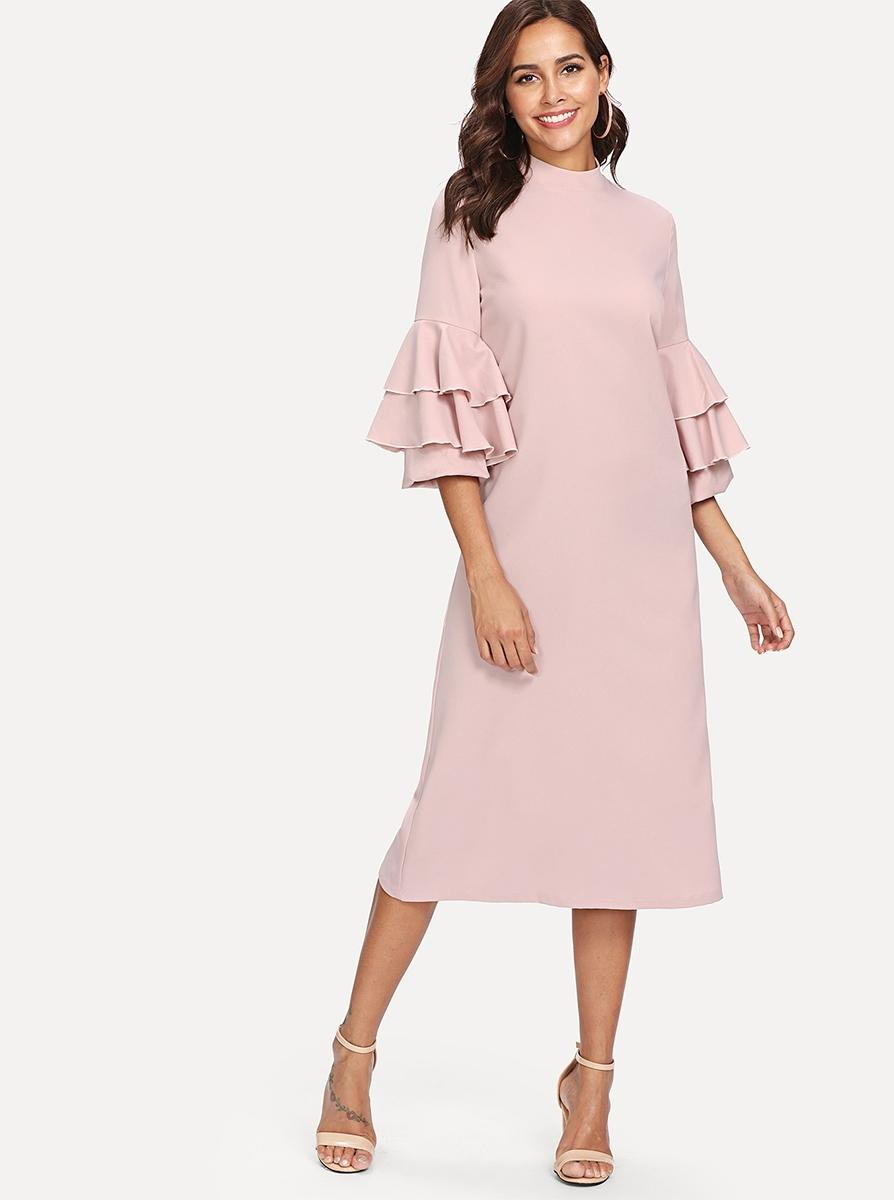 Купить Платье с оборками на рукавах и ложным воротником, Giulia, SheIn